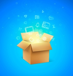 Cardboard Box with Icons vector image vector image