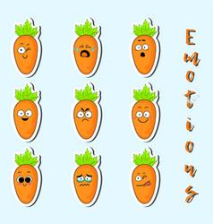 Cartoon carrot cute character face sticker vector