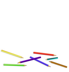 set of colored pencilswith shadow crayons isolated vector image
