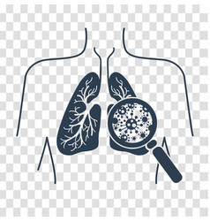 silhouetteof lung disease black vector image
