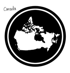 white map of canada on black circle vector image vector image