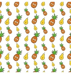 Fruits Seamless Background with Funny Pears vector image
