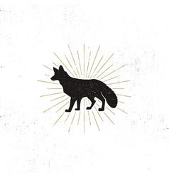 hand drawn fox silhouette vintage vector image
