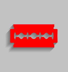 Razor blade sign red icon with soft vector