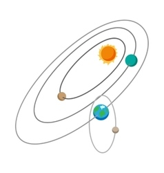 Solar system cartoon icon vector image