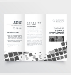 Abstract black mosaic style tri fold brochure vector