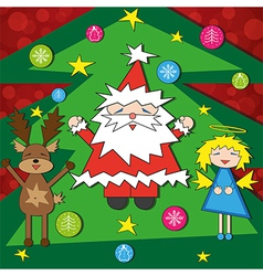 Bright Christmas card with funny characters vector image