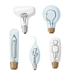 Creative idea lamps cartoon flat vector