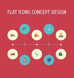 Flat icons van electric screwdriver steamroller vector