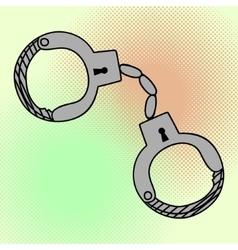Handcuffs pop art vector