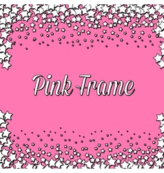 Pink frame with white stars vector image vector image