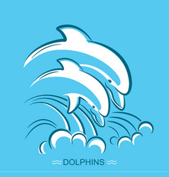 Two dolphins symbol of parent and vector