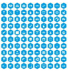 100 lorry icons set blue vector