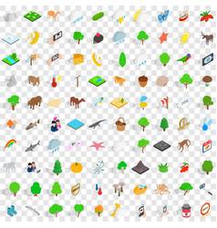 100 widlife sanctuary icons set isometric style vector