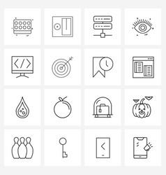 16 interface line icon set modern symbols on vector