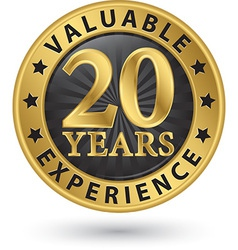 20 years valuable experience gold label vector