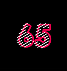 65 years anniversary line design logo template vector