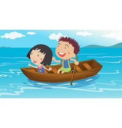 A boy and a girl boating vector image