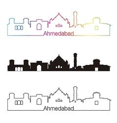 Ahmedabad skyline linear style with rainbow vector