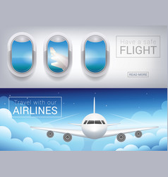 Airplane window the tourist banner vector