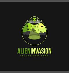 Alien invasion emblem logo icon vector