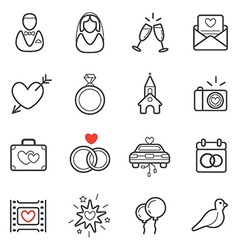 All kinds wedding marriage or bridal icons set vector