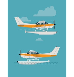Amphibian plane flying and landing on the water vector