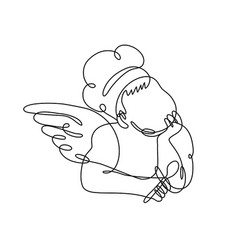 Angel chef cook or baker holding a spoon front vector