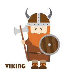 angry cartoon viking with beard in helmet with vector image