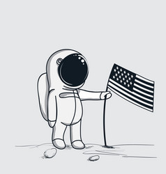 Astronaut sets american flag on the moon vector