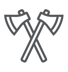 Axes line icon weapon and hatchet crossed axes vector