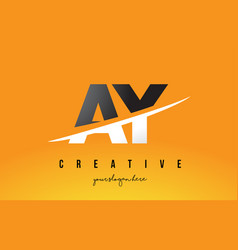 Ay a y letter modern logo design with yellow vector