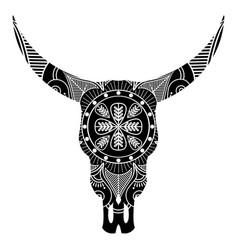 aztec wild animal skull in black and white vector image