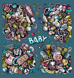 Baby cartoon doodle designs set vector