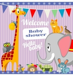 Baby shower invitation card with cute animals vector image