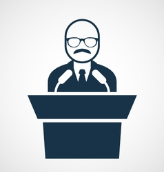 Bald-headed man at rostrum - speaker vector
