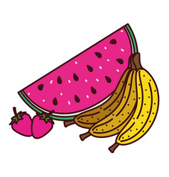 Bananas cluster with watermelon and strawberries vector