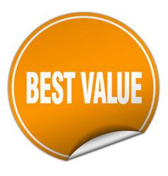 Best value round orange sticker isolated on white vector