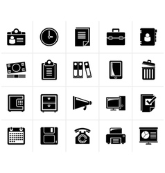 Black Business and office supplies icons vector image