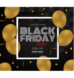 Black friday sale promotion poster with gold vector