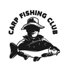 carp fishing club emblem template with fish vector image
