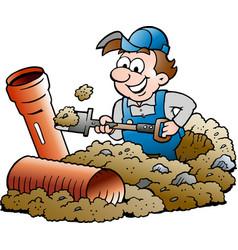 Cartoon a happy sewer master handyman vector