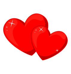 cartoon red pair of loving hearts vector image