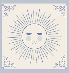 Ceramic tiles isolated sun between ornamental vector