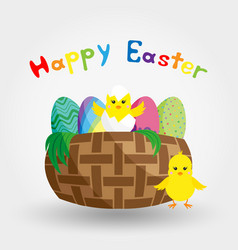 chick in eggshell in a basket with easter eggs vector image
