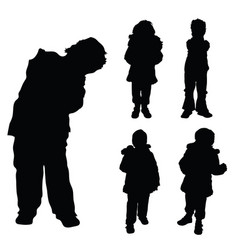 child and cute girl posing silhouette vector image