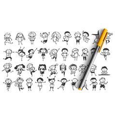 children doodle set vector image