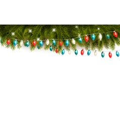 Christmas background with branches and a garland vector image