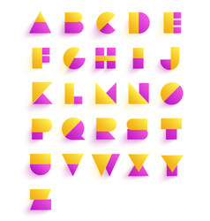 colorful geometric font design abstract modern vector image