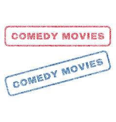 Comedy movies textile stamps vector